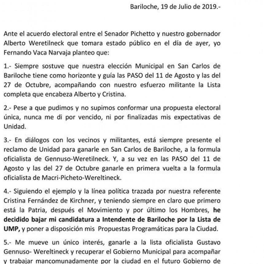 Vaca Narvaja declinó su candidatura a Intendente de Bariloche